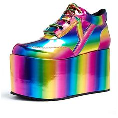 Here are the 15 most outrageous rave shoes, LED rave sneakers and creepers that are specially designed for ravers that look unbelievably stunning. Rave Shoes, Neon Shoes, Rainbow Shoes, Colorful Shoes, Edm, Fashion Show, Platform, Footwear, Bling