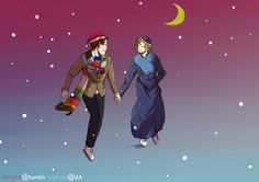 "Fandom Christmas Cards: Doctor Who by SarlyneART -- ""The Doctor took me ice skating on the River Thames in 1814. The last of the Great Frost Fairs. He got Stevie Wonder to sing for me under London Bridge."" ♥♥"