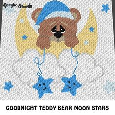Goodnight Teddy Bear Moon and Stars Baby Blanket Baby Shower Blanket Baby Graphgan crochet graphgan blanket pattern; graphgan pattern, c2c, cross stitch graph; pdf This is a color graph pattern to follow not a written pattern. Adorable goodnight teddy bear with moon and stars graph chart