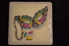 Coaster New Orleans Mardi Gras Half Mask by TheCoasterMan on Etsy.