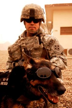 US Army Sgt. Brandon Sanford and MWD Rexo, both from the 72nd Military Police Detachment, attached to the 4th Infantry Division, prepare to move out on a mission from Camp Taji, Iraq during Operation Iraqi Freedom.         photo by Tech. Sgt. William Greer
