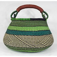 This exquisite hand woven Tema African Pot basket is double woven for extra strength and stability with hand stitched brown leather handles. This basket is crafted in rich navy blue, teal, lime green and natural colors. Weaving Art, Hand Weaving, Diy Basket, Green Basket, Textiles, African Art, African Design, Sisal, Basket Weaving