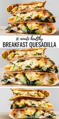 Healthy Vegetarian Breakfast, Vegetarian Recipes, Healthy Eating, Cooking Recipes, Healthy Recipes, Healthy Quesadilla Recipes, Healthy Breakfast With Eggs, Quick Easy Breakfast, Delicious Healthy Food