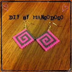 Geometric square earrings perler beads by mango_dogo_shop