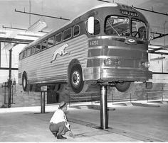 Greyhound Centenary: a Century on Board the Bus - Telegraph Photo taken in 1948 or later, this inspection is taking place in the shop of the Great Lakes Greyhound Lines on Fort Street in Detroit,Michigan Bus City, Automobile, Buses And Trains, Bus Coach, Bus Travel, Louisville Kentucky, Bus Conversion, Bus Station, Train Station