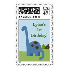 Lil Dino Dinosaur Boys Birthday Postage Stamps