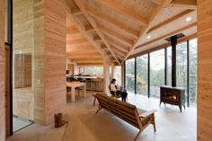 This is the Inbetween House. It's located in Karuizawa, Nagano, Japan and it was completed in The house was a project by Koji Tsutsui Architect Karuizawa, Interior Architecture, Interior And Exterior, Modern Interior, Wood House Design, Design Japonais, Local Builders, Wooden House, Wood Construction