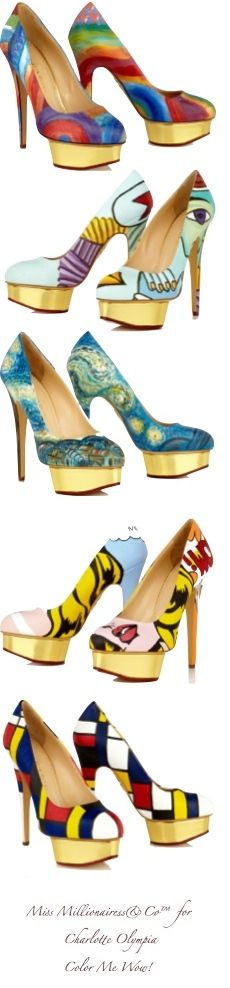 """Charlotte Olympia - Color Me Wow!………THESE MAKE MY TOOTSIES HURT JUST TO LOOK AT THEM - LET ALONE WALK A MILE IN """"MY SHOES""""……LOVE TO, BUT HONESTLY I DON'T THINK I'D MAKE IT……..ccp"""