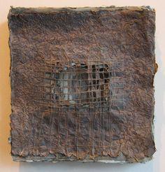 "Dark Portal 4  Handmade paper of Belgian flax with indigo and black walnut dye, hand-stitched linen thread & twigs  11½ "" w x 12"" h  $1200"
