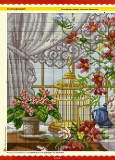 bird cage, flowers and bird nest in front of window- 1 Cross Stitch Bird, Cross Stitch Samplers, Cross Stitch Flowers, Cross Stitch Charts, Cross Stitching, Cross Stitch Embroidery, Embroidery Patterns, Vintage Embroidery, Funny Cross Stitch Patterns