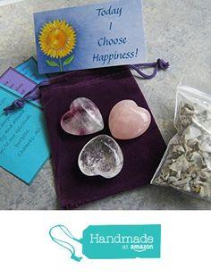 Gemstone Heart Set, Quartz Rose Quartz Crystal & Fluorite Hearts, With Sage & Positive Affirmation from Abundant Earth Works