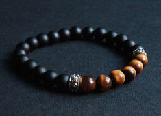 Handmade  Black Agate and Yellow Tiger's Eye Beaded Bracelet for Men or Women