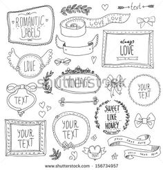 Vintage label set, Hand-drawn doodles and design elements, Ornate frames, banners and ribbons isolated - stock vector