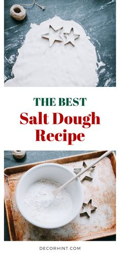This is the best and easiest salt dough recipe! Just three ingredients. Star Salt Dough Ornaments and Christmas Tree Ideas. Basic recipe for Salt Dough Ornaments with tips and ideas for decorating your Holiday Tree this year. Best Salt Dough Ornament Recipe, Best Salt Dough Recipe, Salt Dough Ornaments, Ornaments Recipe, Salt Dough Recipe Handprint, Salt Dough Recipes, Diy Salt Dough Recipe, Salt Dough Projects, Salt Dough Crafts