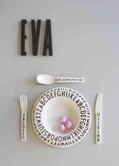 design letters plate and utensils for kids#kidsroom #danishdesign #designletters