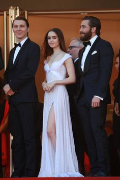 Lily Collins Jake Gyllenhaal attend the 'Okja' screening during the 70th annual Cannes Film Festival at Palais des Festivals on May 19 2017 in Cannes...