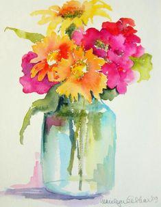 Free Watercolor Flowers, Watercolor Art Diy, Floral Watercolor, Watercolor Artists, Simple Watercolor, Watercolor Water, Watercolor Art Paintings, Watercolor Pictures, Watercolor Paintings For Beginners