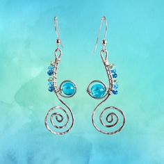 Sterling Silver Ocean Earrings / celtic earrings gift for her / wave earrings / ecosilver earrings / nautical earrings / blue earrings Beautiful Gifts For Her, Perfect Gift For Her, Nautical Earrings, Blue Earrings, Designer Earrings, Bridesmaid Gifts, Celtic, Bachelorette Ideas, Wedding Inspiration