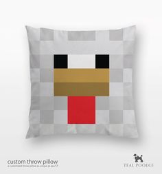 Minecraft is a procedurally-generated game of world exploration, resource harvesting, and freeform construction. Minecraft supports local and online multiplayer, and features are being added regularly. Minecraft Pillow, Minecraft Pattern, Minecraft Toys, Minecraft Bedroom, Minecraft Crafts, Minecraft Stuff, Chicken Pillows, Teal Throw Pillows, Nerd Room