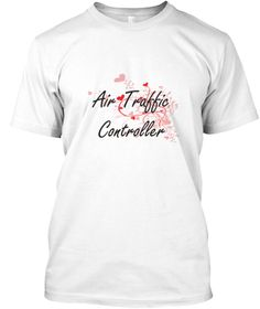 Air Traffic Controller Heart Design White T-Shirt Front - This is the perfect gift for someone who loves Air Traffic Controller. Thank you for visiting my page (Related terms: Professional jobs,job Air Traffic Controller,Air Traffic Controller,air traffic controllers,air traf ...)