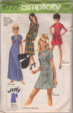 Simplicity 8722 Vintage 70's Sewing Pattern MARVELOUS MOD Jiffy Teardrop Shaped Peekaboo Keyhole Easy Mini, Midi Dress and Maxi Gown