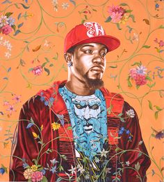 Kehinde Wiley is so inspirational. He paints directly on tapestry, incorporating patterns with hyper realistic portraits.