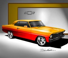 ITEM NVA -4 1967 CUSTOM CHEVY NOVA - MUSTARD YELLOW AVAILABLE AT: http://www.dannywhitfield.com/nova.html