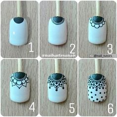 Make up secrets / Make-up Tutorials / Makeup ideas Nail Art Hacks, Nail Art Diy, Easy Nail Art, Diy Nails, Henna Nails, Lace Nails, Flower Nails, Pedicure Nails, Manicure