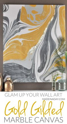Marble wall art, marble canvas art, gold gilded marble canvas tutorial, how to gild on canvas, gold gilded canvas, marble artwork, large abstract wall art, marble print art, gold canvas art, marble wall hanging, photowall coupon code #sponsored
