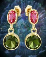 Gold Moldavite Earrings