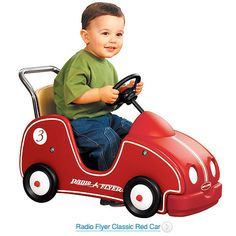Radio Flyer Clic Red Car Wooden Baby Kids Toys