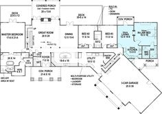 Ranch style house plans are typically single-story homes with rambling layouts. Open floor plans are characteristic of the Ranch house designs offered at . Craftsman Style House Plans, Ranch House Plans, Best House Plans, Dream House Plans, House Floor Plans, Craftsman Houses, The Plan, How To Plan, Mother In Law Apartment