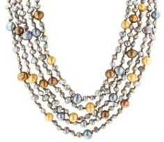 """Amazon.com: Picture Jasper, Yellow Agate and Freshwater Cultured Pearl 3-Row Necklace, 19.5+4"""" Extender: Jewelry"""