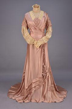 Afternoon Gown (image 1) | Templier & Rondeau | France; Paris | 1908 | silk charmeuse, net | Whitaker Auction House | April 2016/Lot 644
