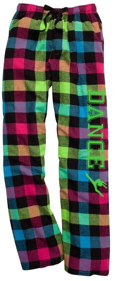 Dance Neon Plaid Lounge Flannel Pant with Pockets