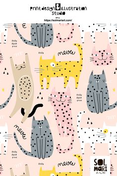 Childish pattern, print design. Surface design for fabric. Cute cats illustration. Children adorable graphic. Graphic, Office Supplies, Notebook, Illustration, Design, Illustrations, Design Comics, Exercise Book