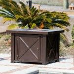 Fire Sense X Design LPG Fire Pit. We are proud to offer our multifunctional X Design LPG Fire Pit. This BTU unit operates on a standard 20 lb. propane tank which safely sits underneath the unit, and is accessible through a hinged door.