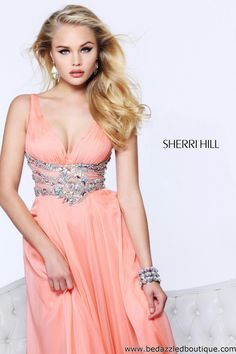 $498 Sherri Hill 1550 Pageant Gown in Coral