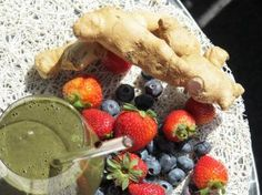 Anti-inflammatory smoothie with ginger, mixed berries celery, leaf greens, & nutiva hemp protein powder