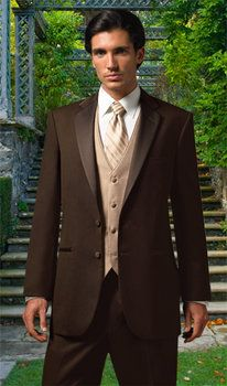 Brown Wedding Theme - Man's chocolate brown tuxes.  Put Chocolate Diamonds or Champagne Diamonds in his Wedding Band to match!