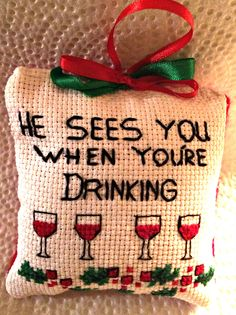 Funny Christmas Cross Stitch Tree Ornament by LinnysCraftWorks on Etsy