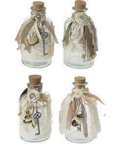 burlap, lace and ribbon bottles