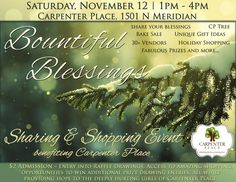 Join your friends for a fun Shopping Event to help benefit the Carpenter Place Saturday, November 12th 1 pm – 4 pm Carpenter Place | 1501 N. Meridian Ave, Wichita Ks  $2 Admission = entr…