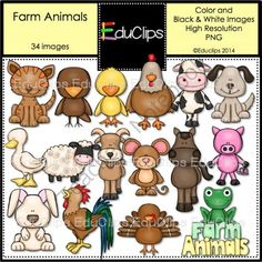 Farm Animals Clip Art Bundle from Educlips on TeachersNotebook.com -  (34 pages)  - Farm Animals Clip Art Bundle - a collection of farm animals including sheep. cow, pig, hen, rooster, horse and duck.