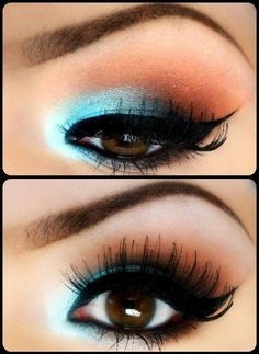 Beautiful blue eye shadow for brown eyes