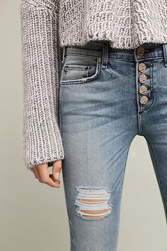 Would love some button fly jeans Fall Outfits, Casual Outfits, Cute Outfits, Look Fashion, Fashion Outfits, Womens Fashion, Fashion Trends, Jean Destroy, Look Jean