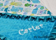 Deep Deep Sea Minky Baby Blanket with Satin Trim (Straight or Ruffled) YOU CHOOSE colors and size Personalization Available