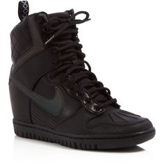 Nike Dunk Sky Hi Lace Up High Top Wedge Sneakers (£130) ❤ liked on Polyvore featuring shoes, sneakers, leather high tops, studded lace-up wedge sneakers, iridescent sneakers, high top wedge sneakers and nike trainers