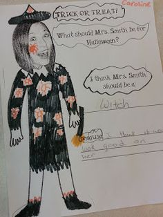 Classroom Freebies Too: Fun Art Freebie! What Should my Teacher be for Halloween?  Great idea!