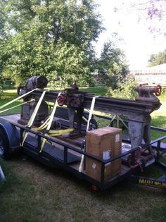 """My """"new"""" South Bend 16""""  lathe with the 12' bed on the trailer at my shop. This bad boy is going to be a handful to unload and position in the shop."""